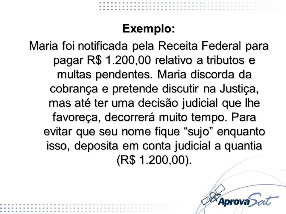 Exemplo: Maria foi notificada pela Receita Federal para pagar R$ 1.200,00 relativo a tributos e multas pendentes. Maria discorda da cobrança e pretend