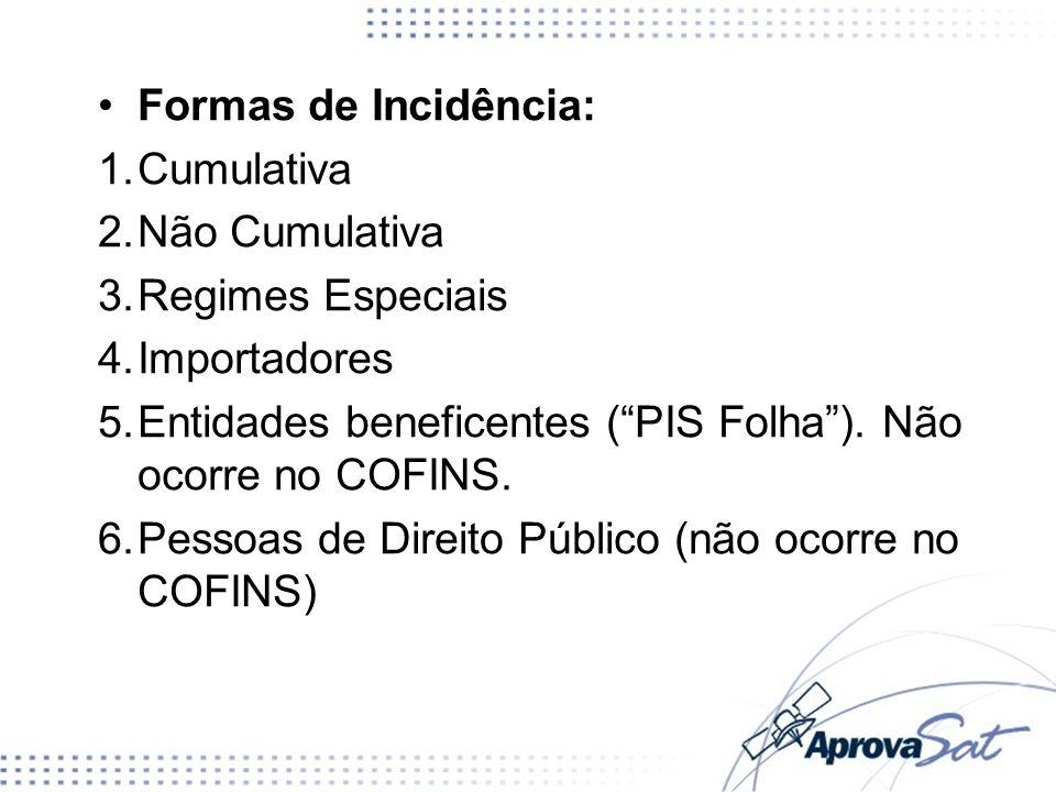 Formas de Incidência: 1.Cumulativa 2.Não Cumulativa 3.Regimes Especiais 4.Importadores 5.Entidades beneficentes (PIS Folha). Não ocorre no COFINS. 6.P