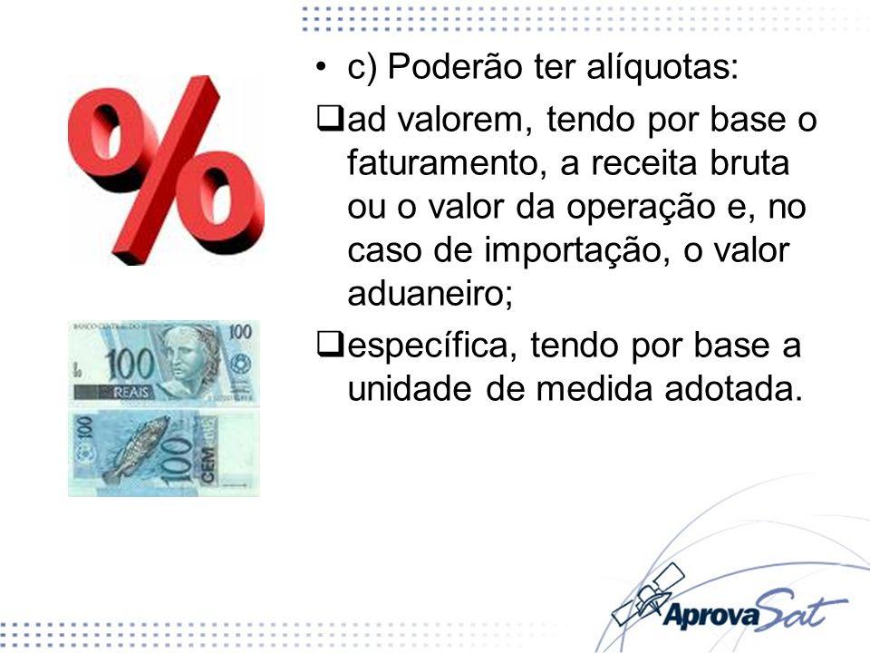 c) Poderão ter alíquotas: ad valorem, tendo por base o faturamento, a receita bruta ou o valor da operação e, no caso de importação, o valor aduaneiro
