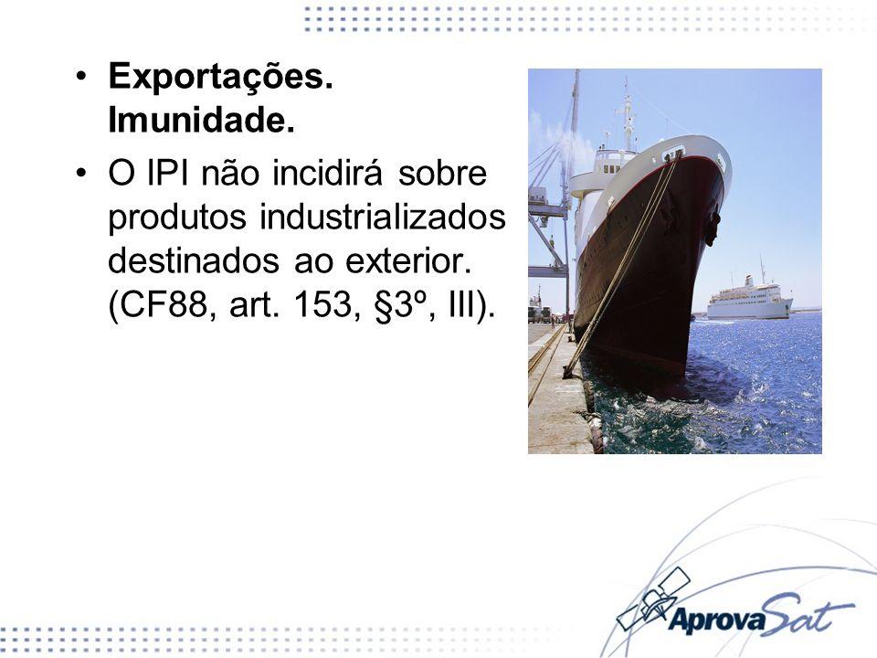 Exportações. Imunidade. O IPI não incidirá sobre produtos industrializados destinados ao exterior. (CF88, art. 153, §3º, III).