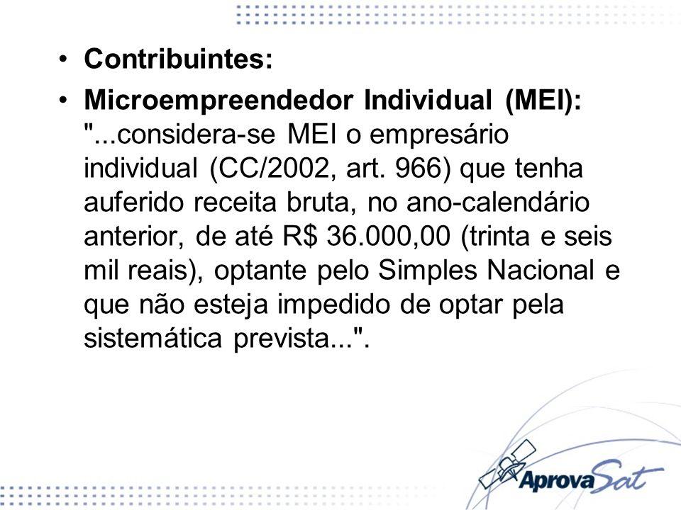 Contribuintes: Microempreendedor Individual (MEI):