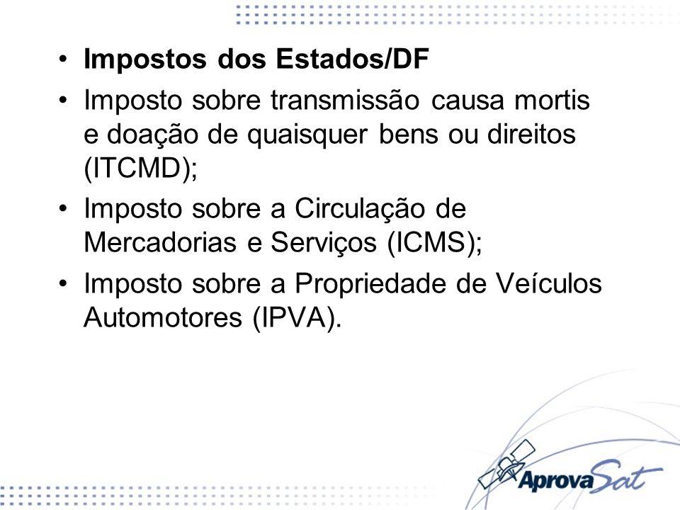 Impostos dos Estados/DF Imposto sobre transmissão causa mortis e doação de quaisquer bens ou direitos (ITCMD); Imposto sobre a Circulação de Mercadori