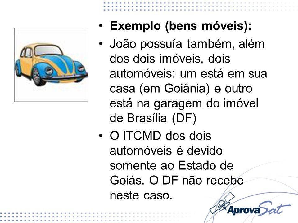 Exemplo (bens móveis): João possuía também, além dos dois imóveis, dois automóveis: um está em sua casa (em Goiânia) e outro está na garagem do imóvel