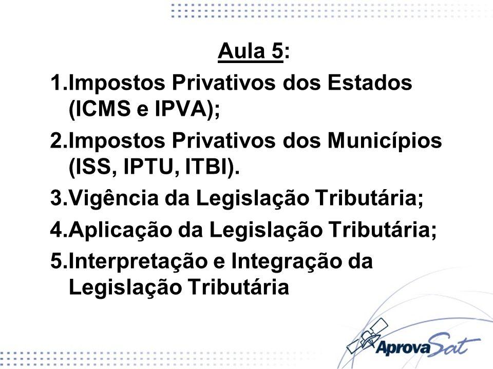 Aula 5: 1.Impostos Privativos dos Estados (ICMS e IPVA); 2.Impostos Privativos dos Municípios (ISS, IPTU, ITBI). 3.Vigência da Legislação Tributária;
