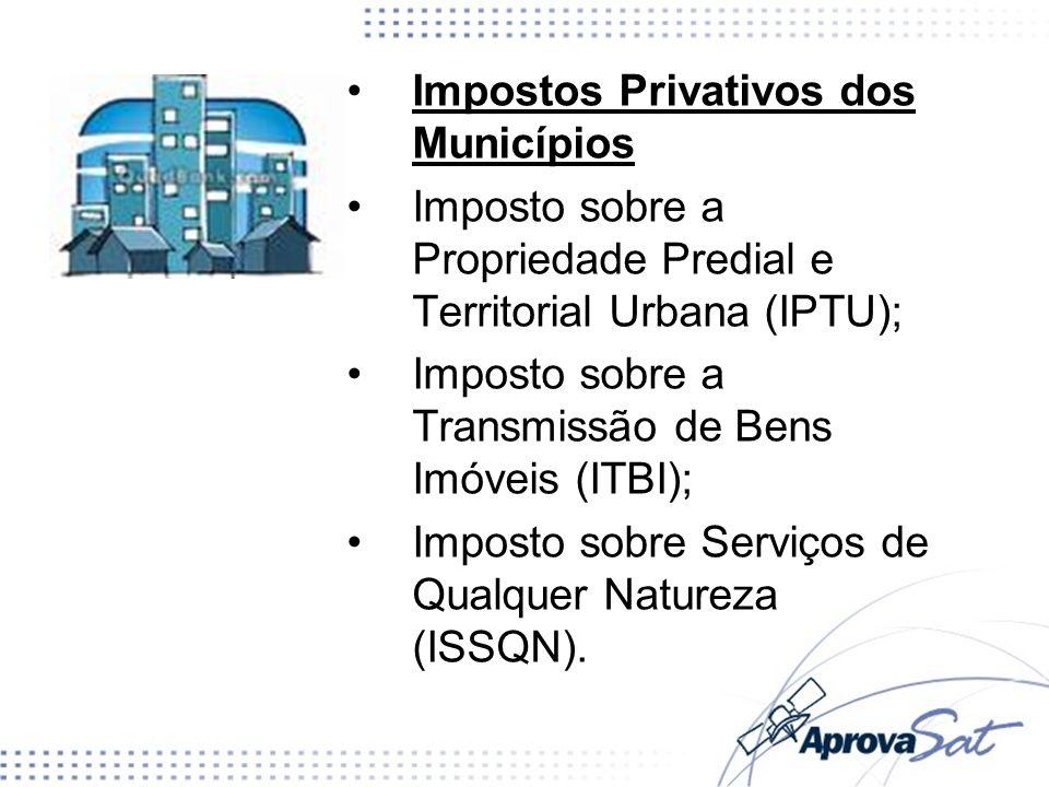 Impostos Privativos dos Municípios Imposto sobre a Propriedade Predial e Territorial Urbana (IPTU); Imposto sobre a Transmissão de Bens Imóveis (ITBI)