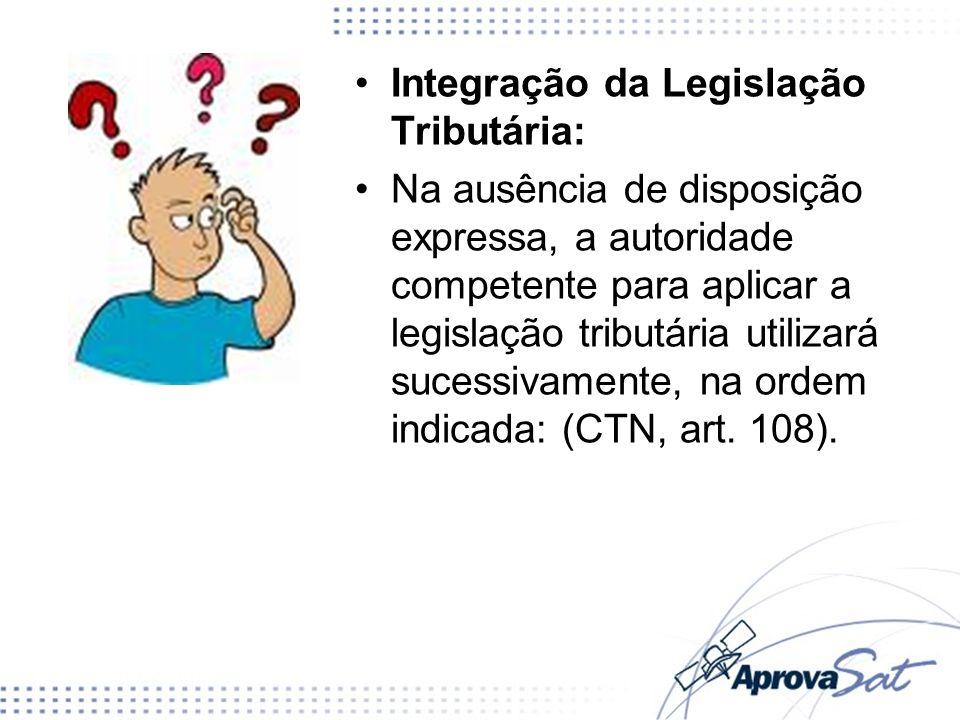Integração da Legislação Tributária: Na ausência de disposição expressa, a autoridade competente para aplicar a legislação tributária utilizará sucess