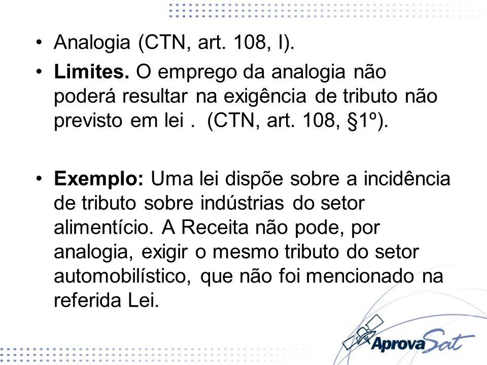 Analogia (CTN, art. 108, I). Limites. O emprego da analogia não poderá resultar na exigência de tributo não previsto em lei. (CTN, art. 108, §1º). Exe