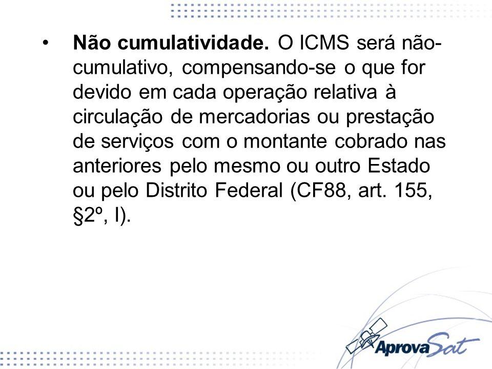Não cumulatividade. O ICMS será não- cumulativo, compensando-se o que for devido em cada operação relativa à circulação de mercadorias ou prestação de