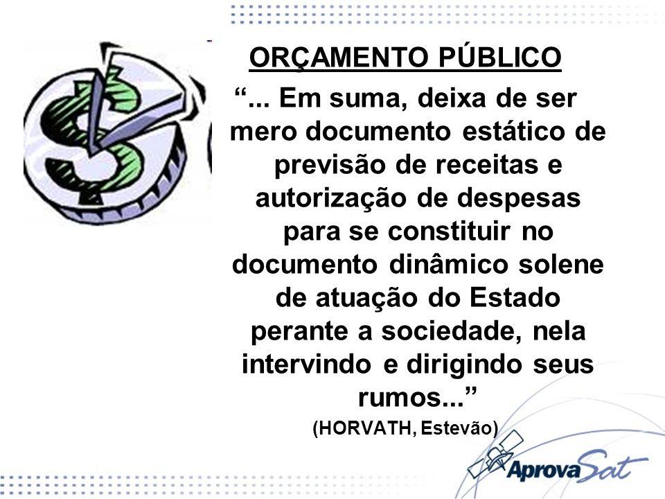 ORÇAMENTO PÚBLICO... Em suma, deixa de ser mero documento estático de previsão de receitas e autorização de despesas para se constituir no documento d