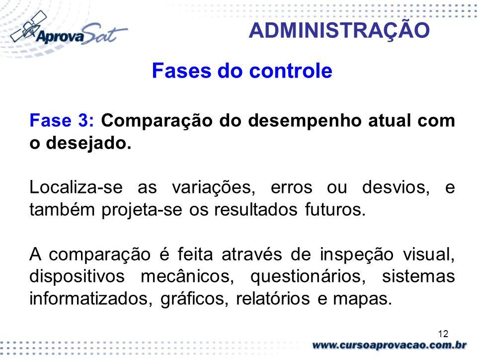 12 ADMINISTRAÇÃO Fases do controle Fase 3: Comparação do desempenho atual com o desejado. Localiza-se as variações, erros ou desvios, e também projeta