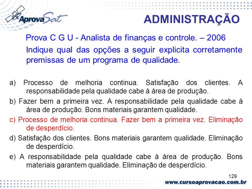 129 ADMINISTRAÇÃO Prova C G U - Analista de finanças e controle. – 2006 Indique qual das opções a seguir explicita corretamente premissas de um progra