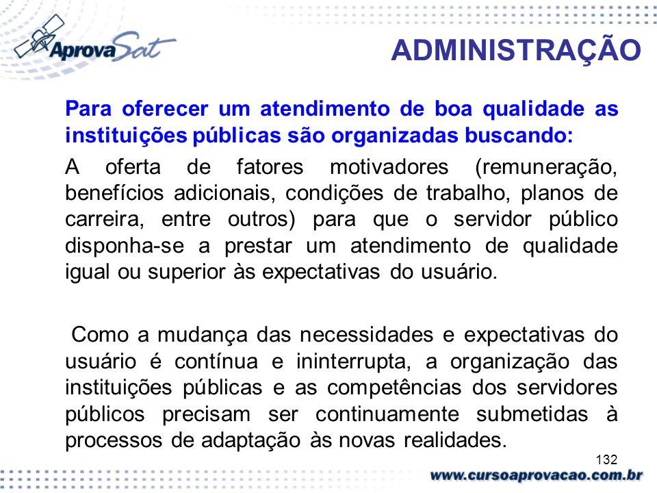 132 ADMINISTRAÇÃO Para oferecer um atendimento de boa qualidade as instituições públicas são organizadas buscando: A oferta de fatores motivadores (re