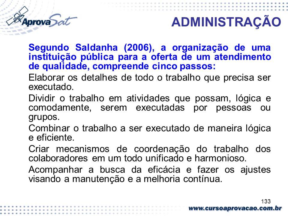 133 ADMINISTRAÇÃO Segundo Saldanha (2006), a organização de uma instituição pública para a oferta de um atendimento de qualidade, compreende cinco pas