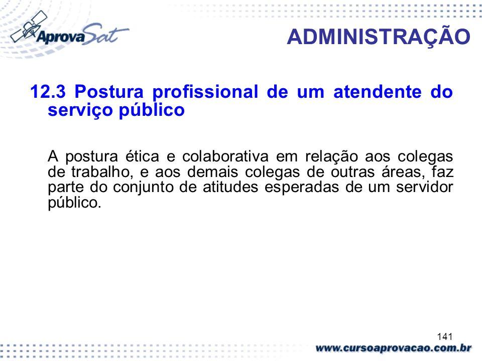 141 ADMINISTRAÇÃO 12.3 Postura profissional de um atendente do serviço público A postura ética e colaborativa em relação aos colegas de trabalho, e ao