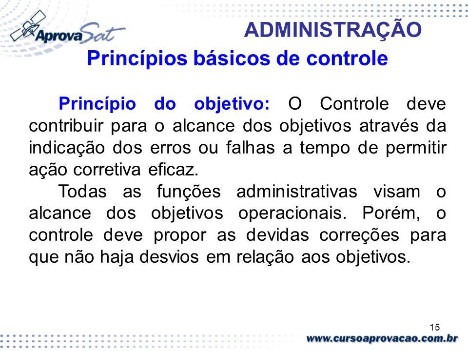 15 ADMINISTRAÇÃO Princípios básicos de controle Princípio do objetivo: O Controle deve contribuir para o alcance dos objetivos através da indicação do