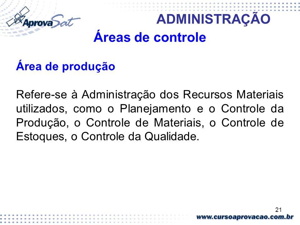21 ADMINISTRAÇÃO Áreas de controle Área de produção Refere-se à Administração dos Recursos Materiais utilizados, como o Planejamento e o Controle da P