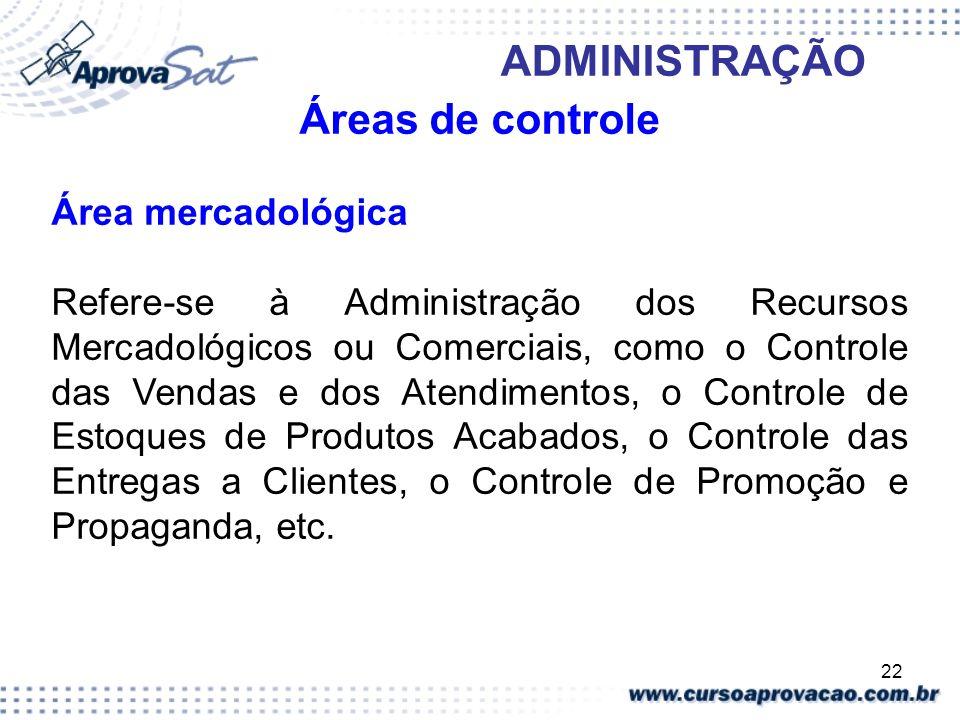 22 ADMINISTRAÇÃO Áreas de controle Área mercadológica Refere-se à Administração dos Recursos Mercadológicos ou Comerciais, como o Controle das Vendas