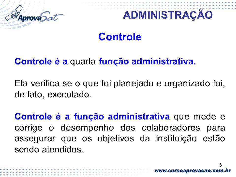 3 ADMINISTRAÇÃO Controle Controle é a quarta função administrativa. Ela verifica se o que foi planejado e organizado foi, de fato, executado. Controle