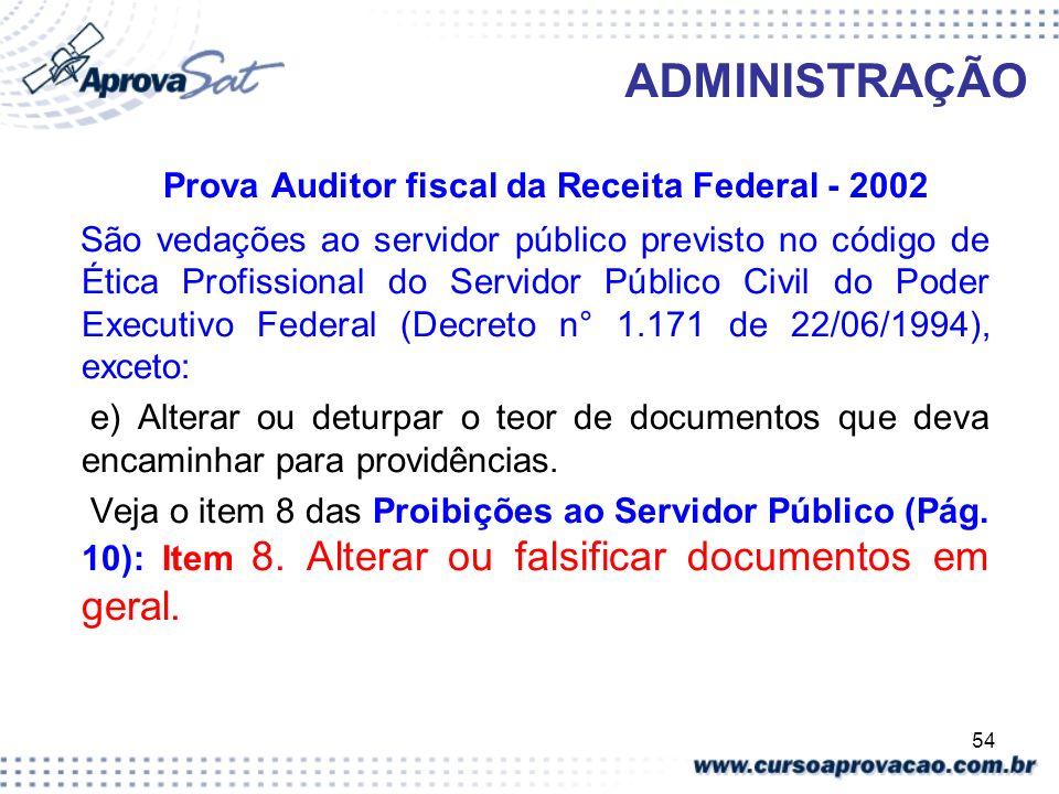 54 ADMINISTRAÇÃO Prova Auditor fiscal da Receita Federal - 2002 São vedações ao servidor público previsto no código de Ética Profissional do Servidor