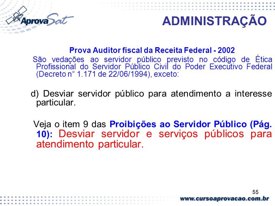 55 ADMINISTRAÇÃO Prova Auditor fiscal da Receita Federal - 2002 São vedações ao servidor público previsto no código de Ética Profissional do Servidor