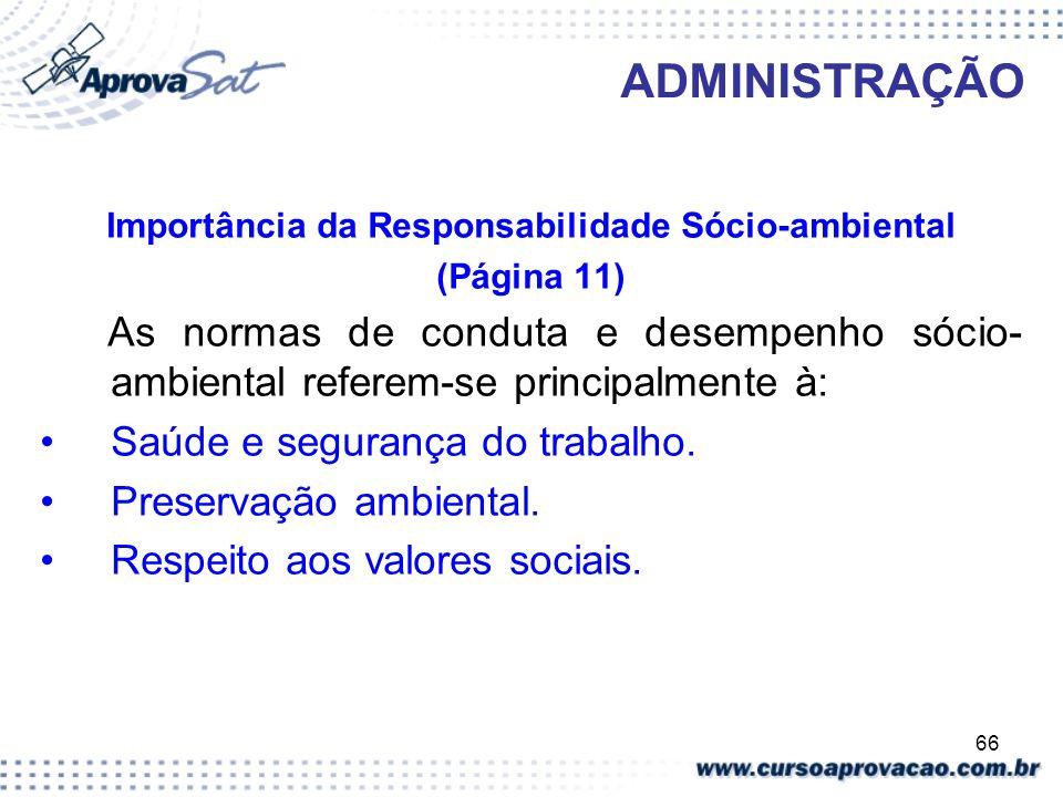 66 ADMINISTRAÇÃO Importância da Responsabilidade Sócio-ambiental (Página 11) As normas de conduta e desempenho sócio- ambiental referem-se principalme
