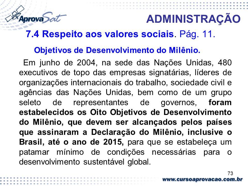 73 ADMINISTRAÇÃO 7.4 Respeito aos valores sociais. Pág. 11. Objetivos de Desenvolvimento do Milênio. Em junho de 2004, na sede das Nações Unidas, 480