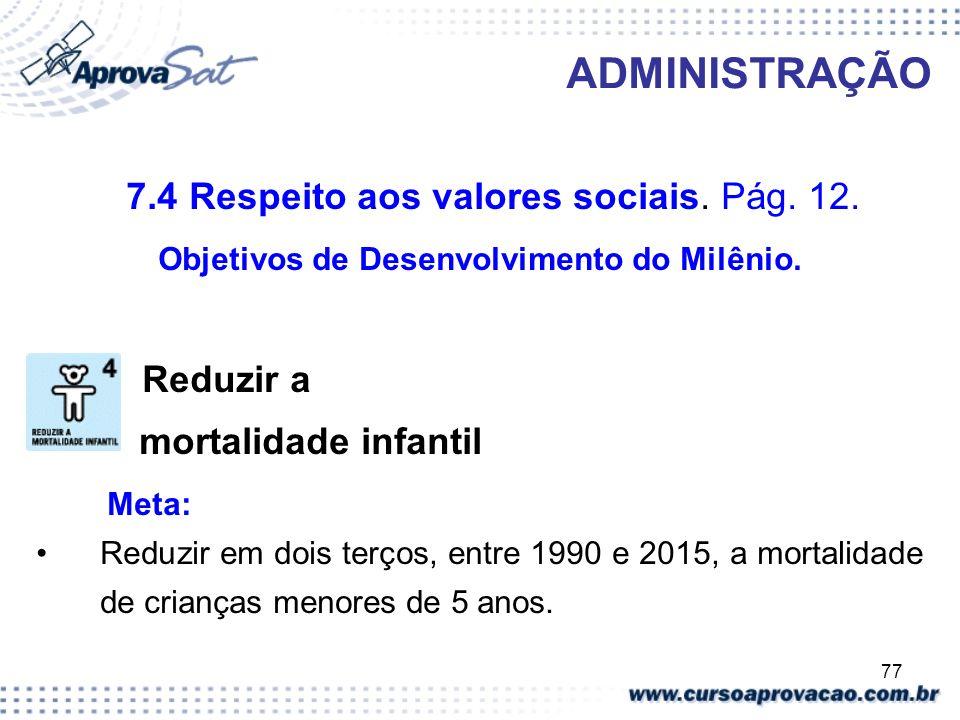 77 ADMINISTRAÇÃO 7.4 Respeito aos valores sociais. Pág. 12. Objetivos de Desenvolvimento do Milênio. Reduzir a mortalidade infantil Meta: Reduzir em d