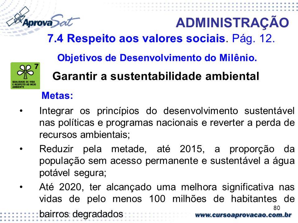 80 ADMINISTRAÇÃO 7.4 Respeito aos valores sociais. Pág. 12. Objetivos de Desenvolvimento do Milênio. Garantir a sustentabilidade ambiental Metas: Inte
