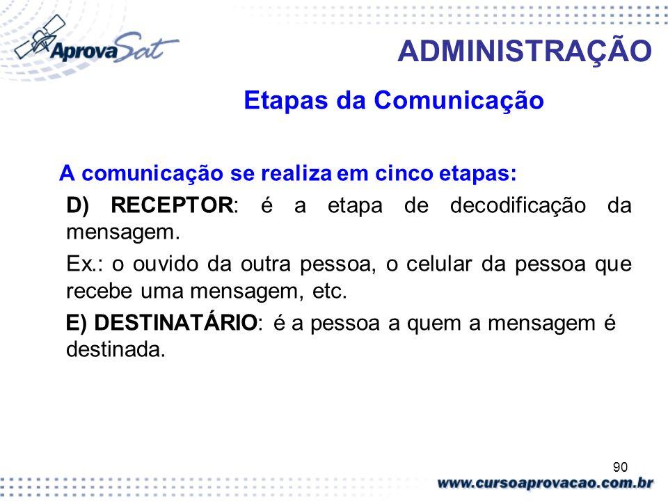 90 ADMINISTRAÇÃO Etapas da Comunicação A comunicação se realiza em cinco etapas: D) RECEPTOR: é a etapa de decodificação da mensagem. Ex.: o ouvido da