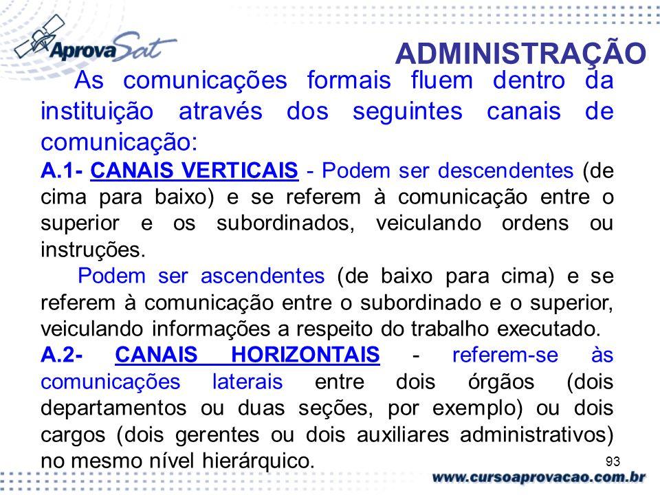 93 ADMINISTRAÇÃO As comunicações formais fluem dentro da instituição através dos seguintes canais de comunicação: A.1- CANAIS VERTICAIS - Podem ser de