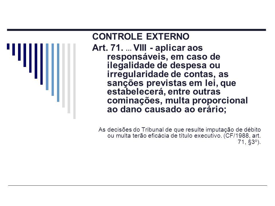 CONTROLE EXTERNO Art. 71.... VIII - aplicar aos responsáveis, em caso de ilegalidade de despesa ou irregularidade de contas, as sanções previstas em l