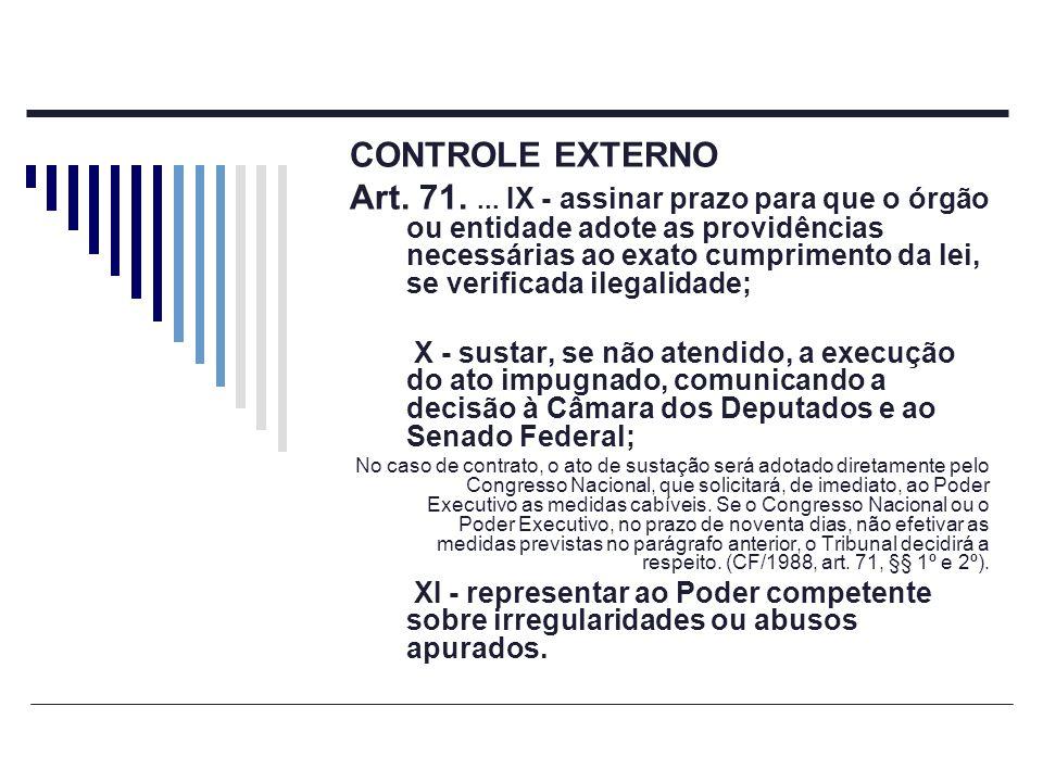 CONTROLE EXTERNO Art. 71.... IX - assinar prazo para que o órgão ou entidade adote as providências necessárias ao exato cumprimento da lei, se verific