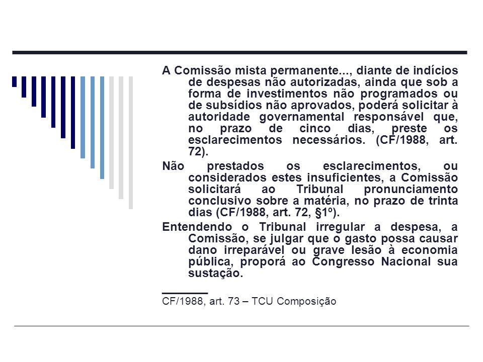 A Comissão mista permanente..., diante de indícios de despesas não autorizadas, ainda que sob a forma de investimentos não programados ou de subsídios