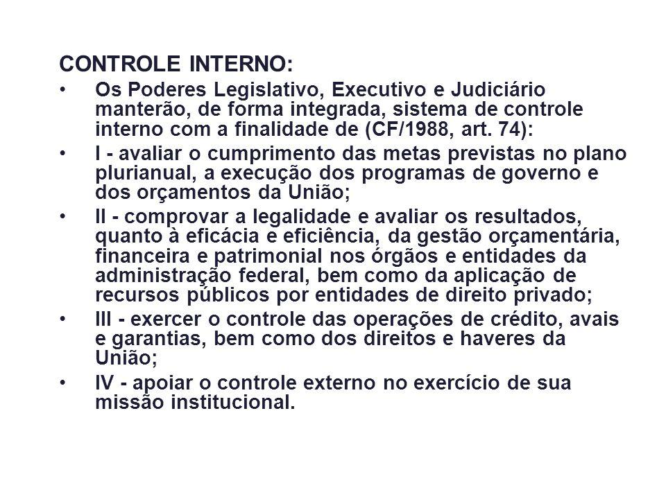 CONTROLE INTERNO: Os Poderes Legislativo, Executivo e Judiciário manterão, de forma integrada, sistema de controle interno com a finalidade de (CF/198