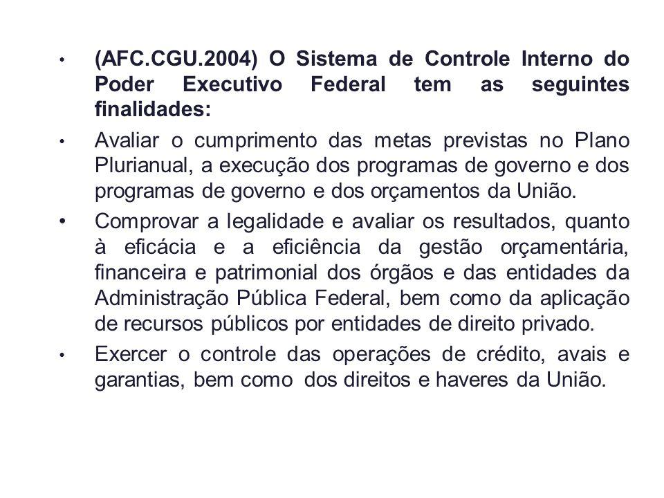 (AFC.CGU.2004) O Sistema de Controle Interno do Poder Executivo Federal tem as seguintes finalidades: Avaliar o cumprimento das metas previstas no Pla