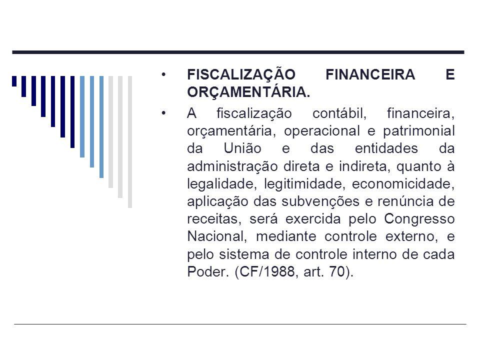FISCALIZAÇÃO FINANCEIRA E ORÇAMENTÁRIA. A fiscalização contábil, financeira, orçamentária, operacional e patrimonial da União e das entidades da admin