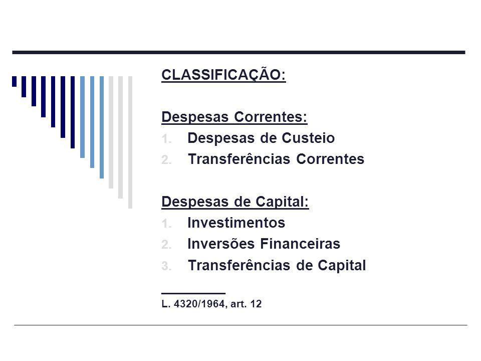 CLASSIFICAÇÃO: Despesas Correntes: 1. Despesas de Custeio 2. Transferências Correntes Despesas de Capital: 1. Investimentos 2. Inversões Financeiras 3