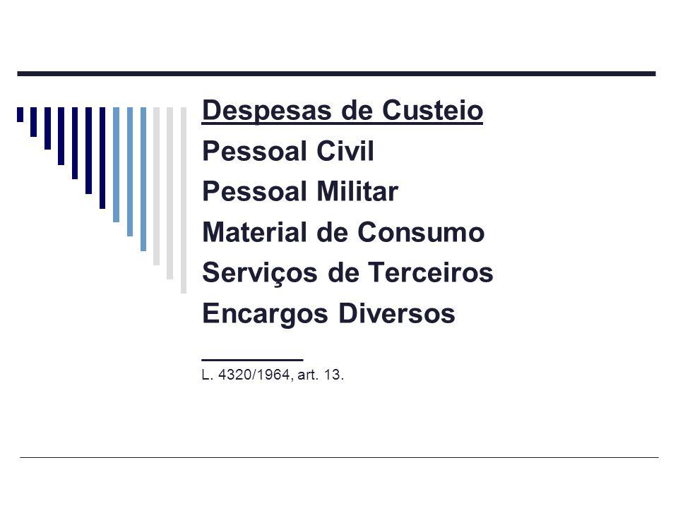 Despesas de Custeio Pessoal Civil Pessoal Militar Material de Consumo Serviços de Terceiros Encargos Diversos ________ L. 4320/1964, art. 13.