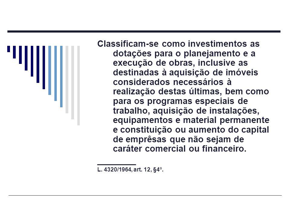 Classificam-se como investimentos as dotações para o planejamento e a execução de obras, inclusive as destinadas à aquisição de imóveis considerados n