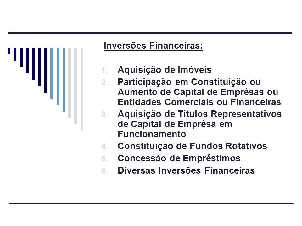 Inversões Financeiras: 1. Aquisição de Imóveis 2. Participação em Constituição ou Aumento de Capital de Emprêsas ou Entidades Comerciais ou Financeira