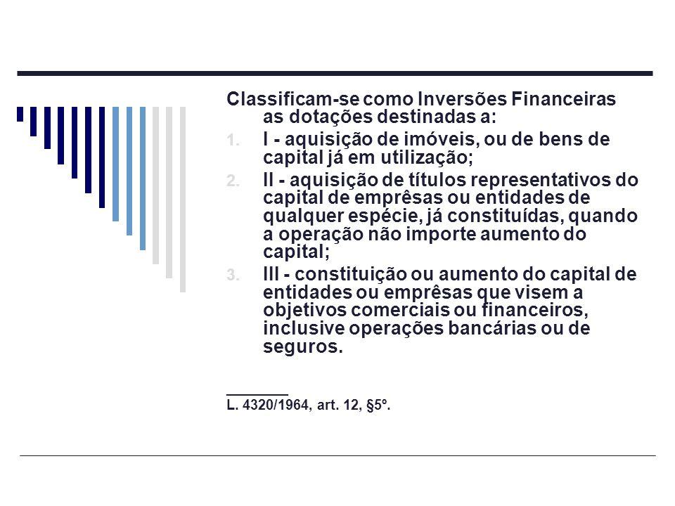 Classificam-se como Inversões Financeiras as dotações destinadas a: 1. I - aquisição de imóveis, ou de bens de capital já em utilização; 2. II - aquis