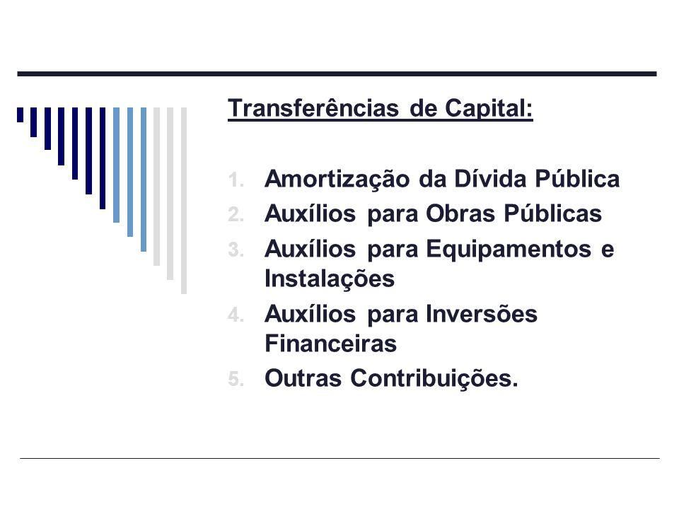 Transferências de Capital: 1. Amortização da Dívida Pública 2. Auxílios para Obras Públicas 3. Auxílios para Equipamentos e Instalações 4. Auxílios pa