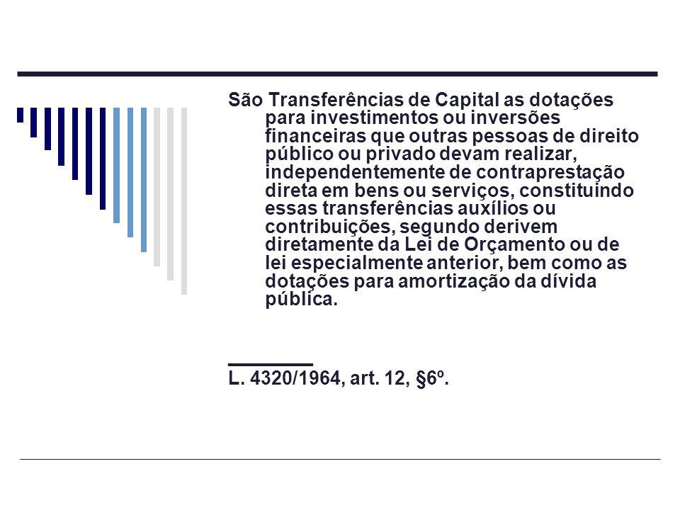 São Transferências de Capital as dotações para investimentos ou inversões financeiras que outras pessoas de direito público ou privado devam realizar,