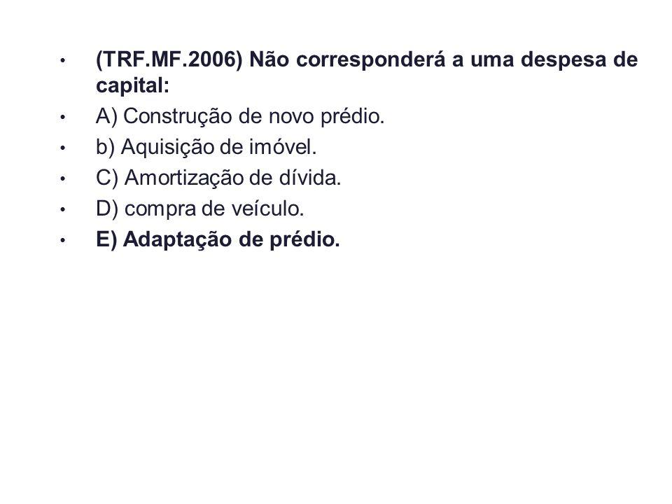 (TRF.MF.2006) Não corresponderá a uma despesa de capital: A) Construção de novo prédio. b) Aquisição de imóvel. C) Amortização de dívida. D) compra de