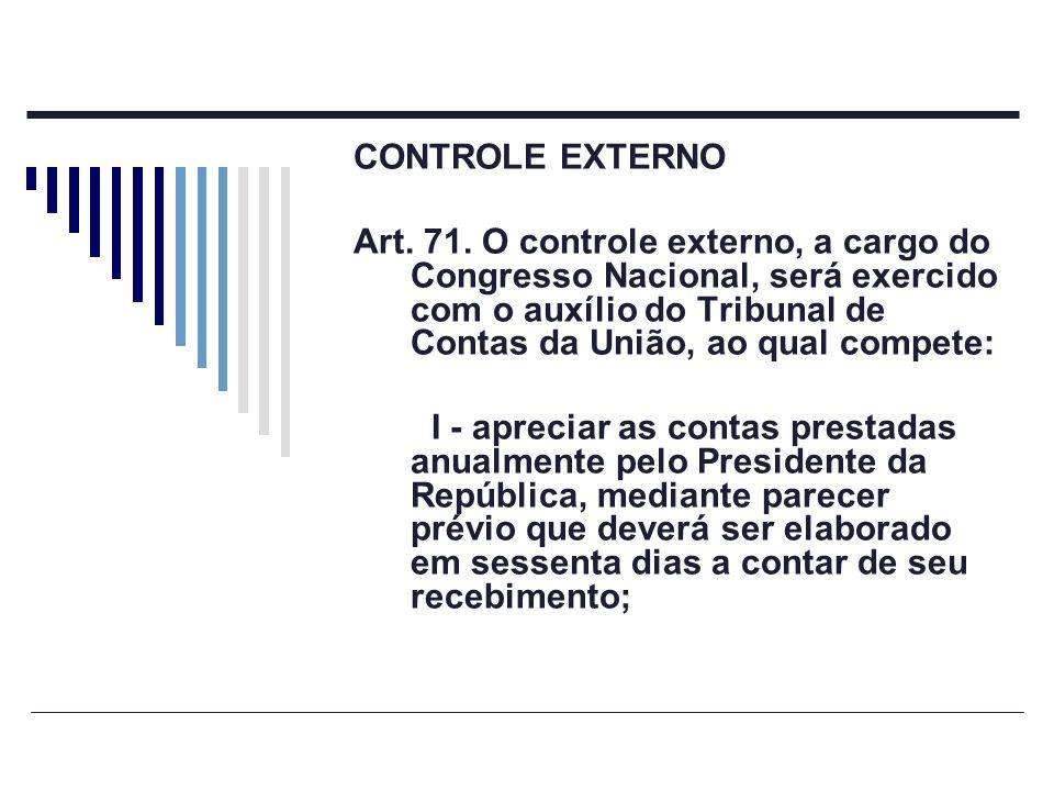 CONTROLE EXTERNO Art. 71. O controle externo, a cargo do Congresso Nacional, será exercido com o auxílio do Tribunal de Contas da União, ao qual compe