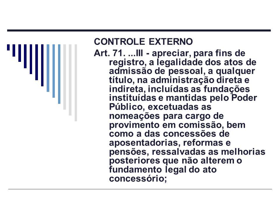 CONTROLE EXTERNO Art. 71....III - apreciar, para fins de registro, a legalidade dos atos de admissão de pessoal, a qualquer título, na administração d