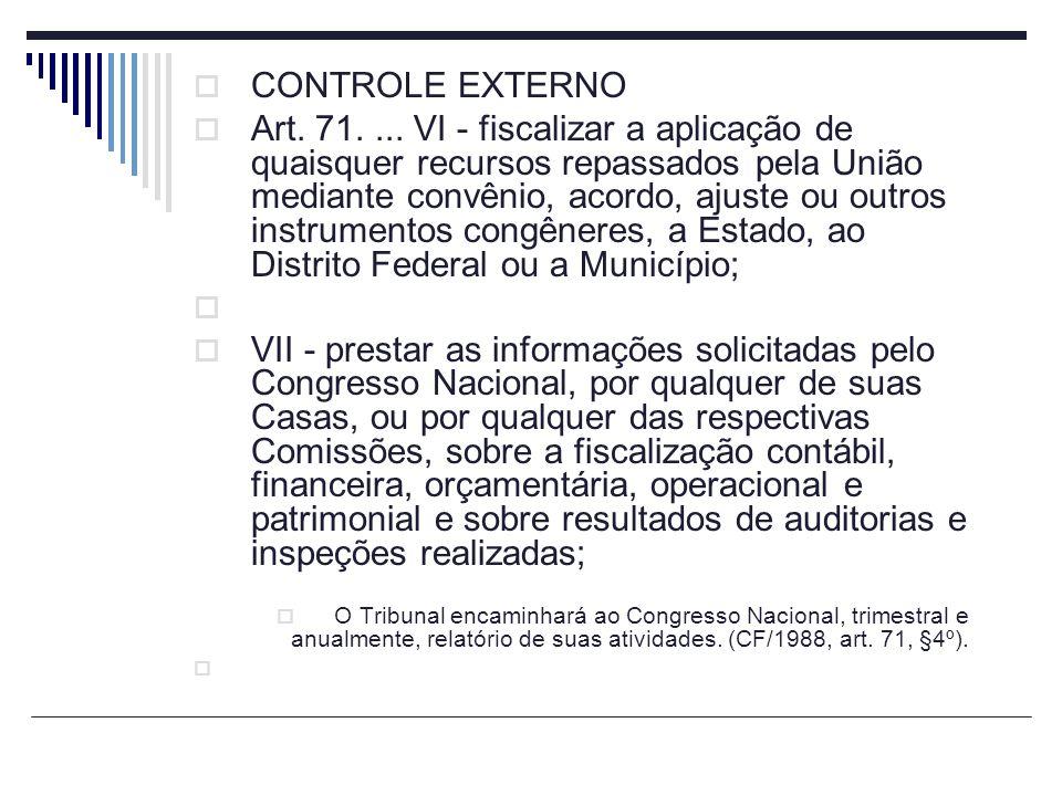 CONTROLE EXTERNO Art. 71.... VI - fiscalizar a aplicação de quaisquer recursos repassados pela União mediante convênio, acordo, ajuste ou outros instr