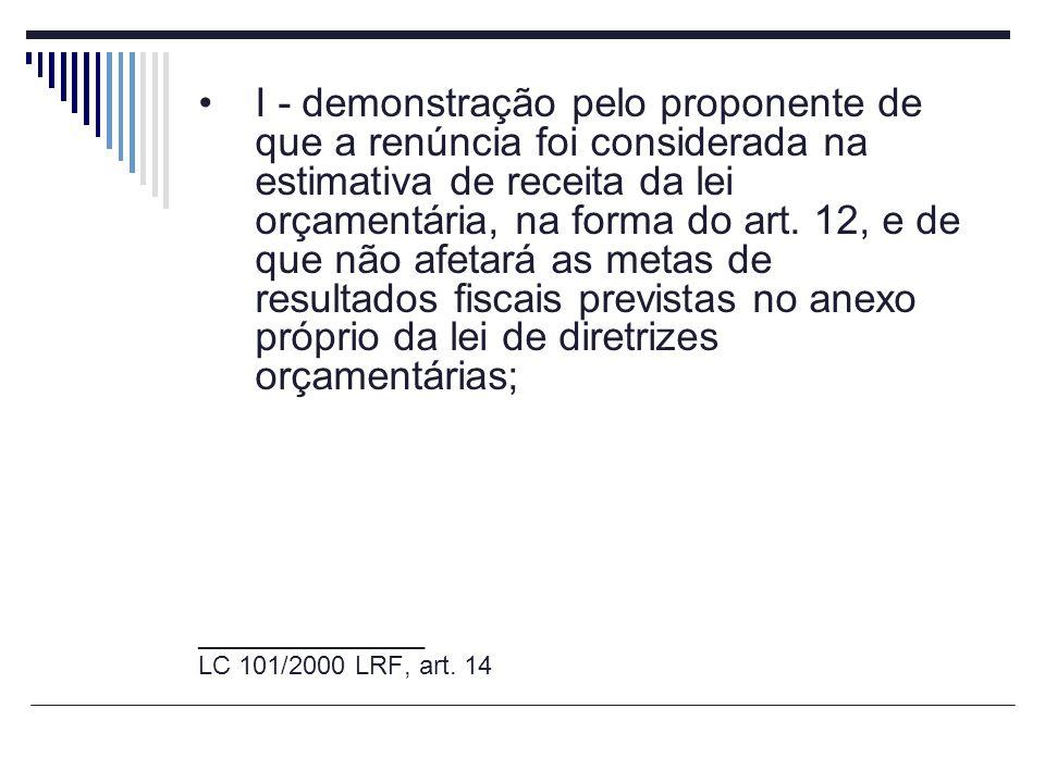 I - demonstração pelo proponente de que a renúncia foi considerada na estimativa de receita da lei orçamentária, na forma do art. 12, e de que não afe
