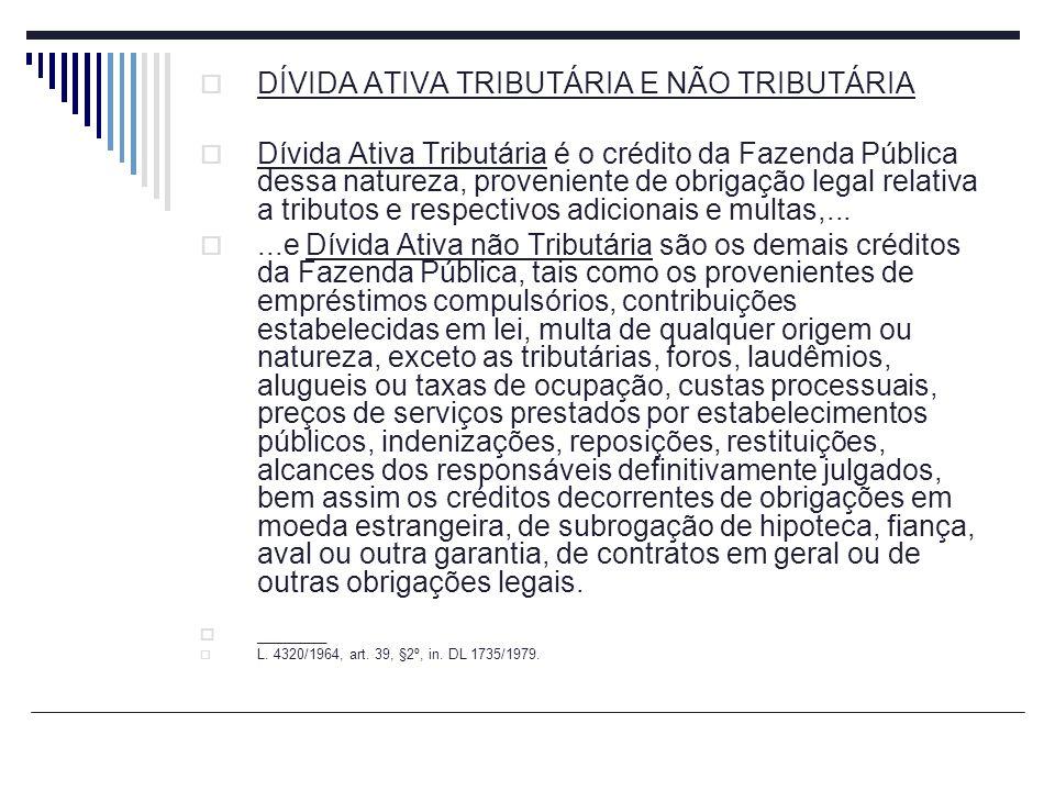 DÍVIDA ATIVA TRIBUTÁRIA E NÃO TRIBUTÁRIA Dívida Ativa Tributária é o crédito da Fazenda Pública dessa natureza, proveniente de obrigação legal relativ