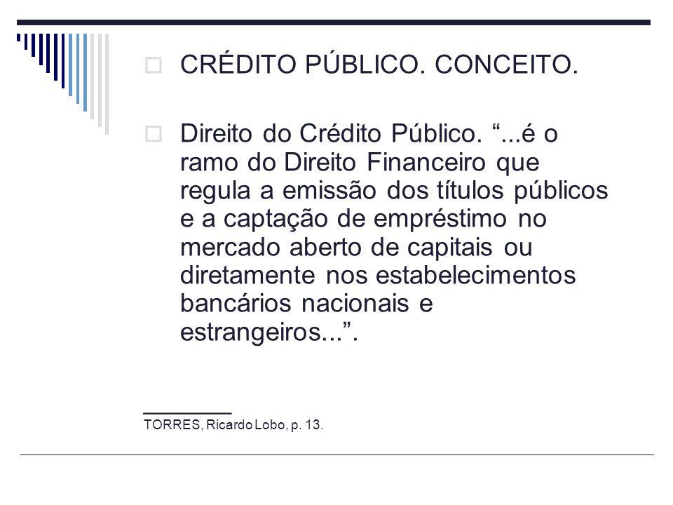 CRÉDITO PÚBLICO. CONCEITO. Direito do Crédito Público....é o ramo do Direito Financeiro que regula a emissão dos títulos públicos e a captação de empr
